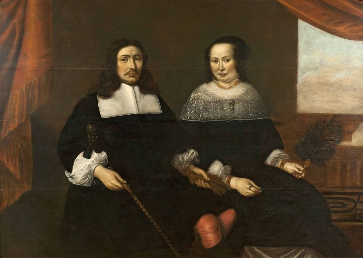 Dutch School 17th Century; Double portrait of a gentleman with his wife