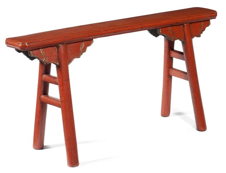 A Chinese elm and red lacquered stool, 19th century