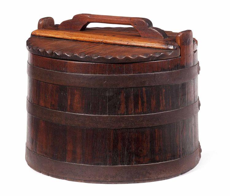 A teak and pine brass-bound balie