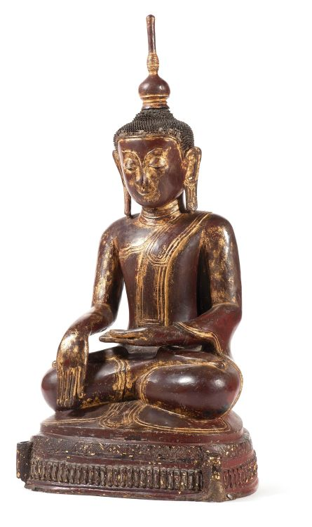 A Cambodian or Burmese carved lacquer and gilt figure of Buddha, late 18th century