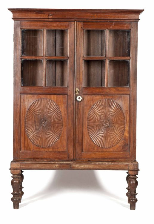 An Indian Colonial rosewood display cupboard-on-stand