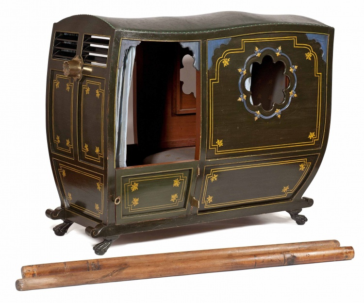 A Colonial Indo-Portuguese painted palanquin, early 19th century