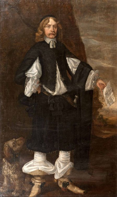 Circle of Bartholomeus van der Helst; Portrait of a gentleman, possibly Laurence Sverdrup, full-length, in a black and white costume, holding a letter in his left hand, a dog at his feet