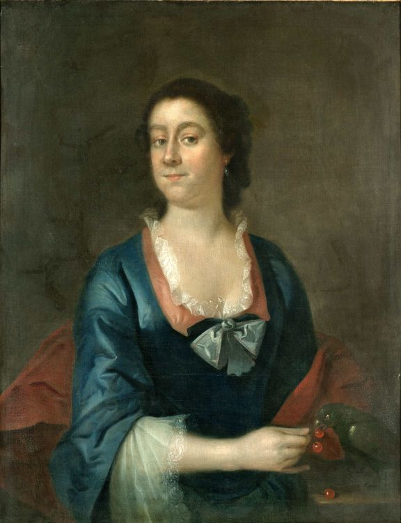 English School 18th Century; Portrait of a Lady feeding her Parrot