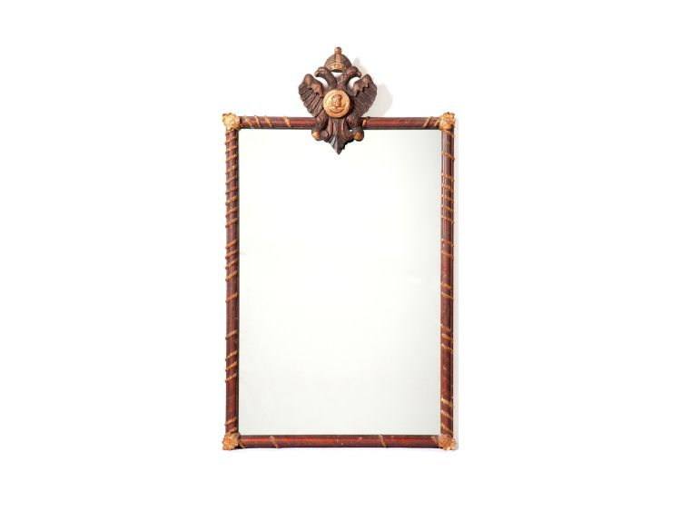 A painted and gilt mirror