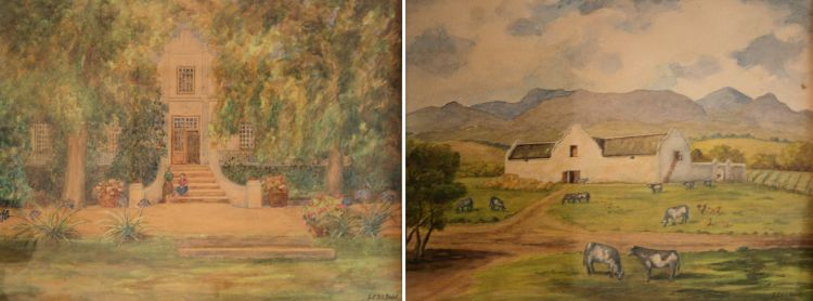 South African School 20th Century; A Cape Farm; and A Cape Homestead, two