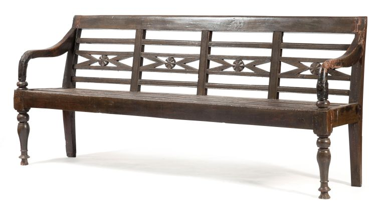 Two Indonesian painted teak benches