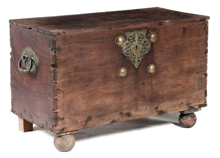 A Colonial Indian teak and brass-mounted chest, 19th century
