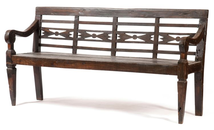 An Indonesian teak bench