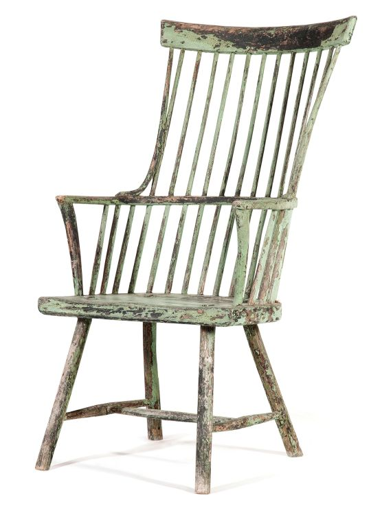 An American green-painted stick comb-back Windsor armchair, late 18th/early 19th century