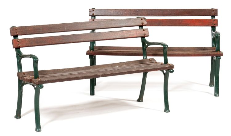 A pair of garden benches