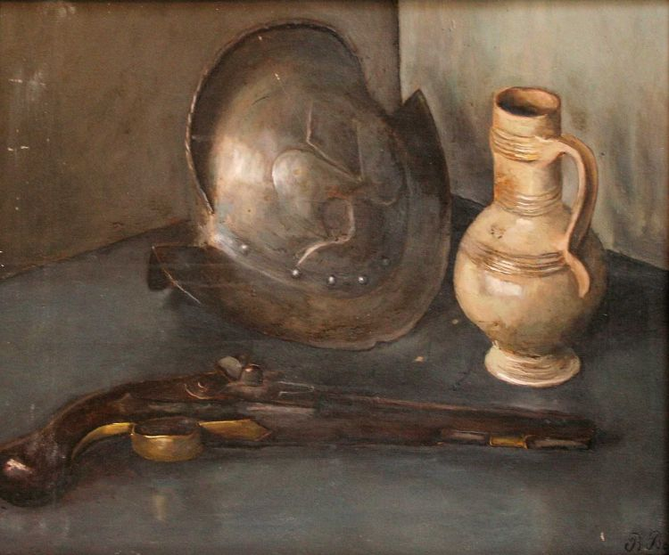 European School 20th Century; Still Life of a Helmet, a Jug and a Pistol