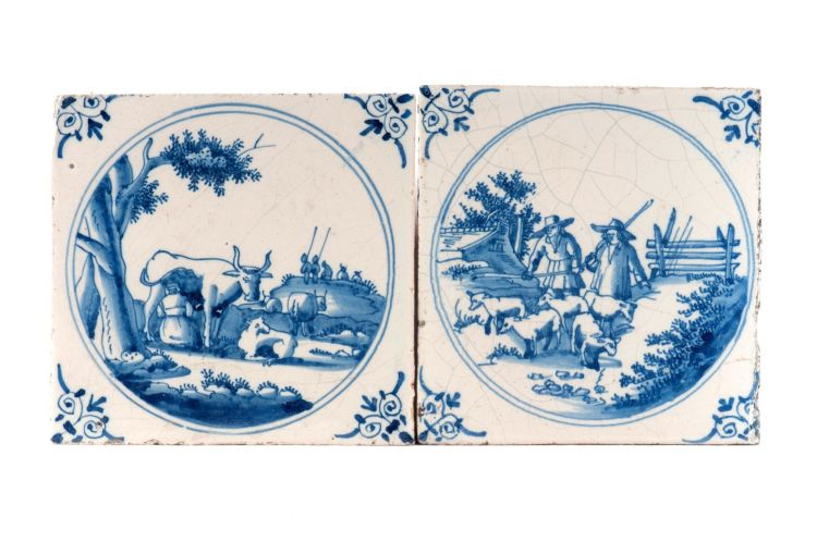 Ten Dutch Delft blue and white tiles, 18th and 19th century