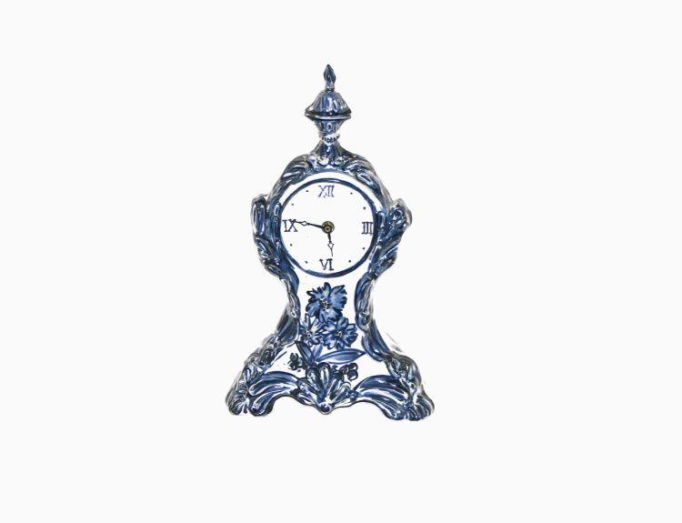 A Dutch Delft blue and white clock, modern