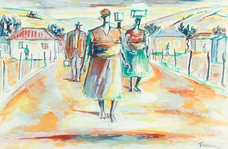 Gerard Sekoto; Township Scene with Figures