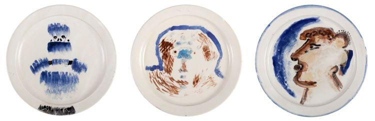 Robert Hodgins; Black Gloves & Blue Furs; Head; From Knossos, three ceramic plates