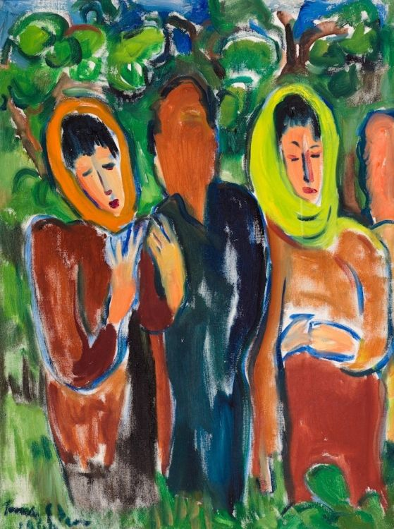 Irma Stern; Four Figures in a Verdant Landscape