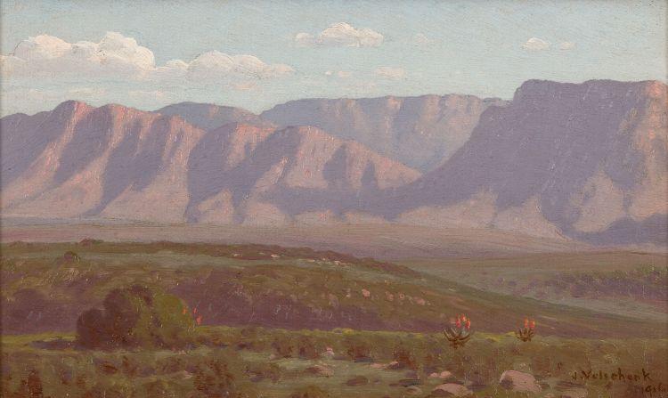 Jan Ernst Abraham Volschenk; Veld and Mountain (Courente River) (Riversdale)