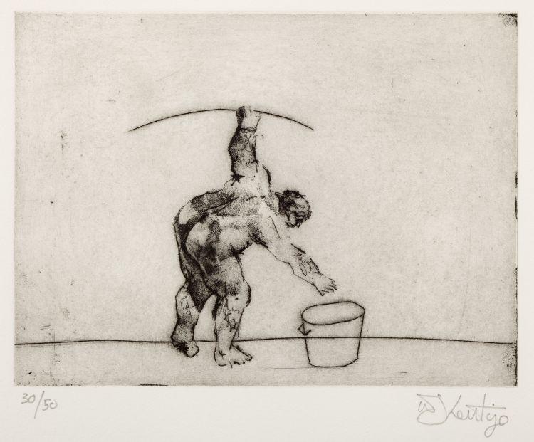 William Kentridge; Untitled (Artist Bending)