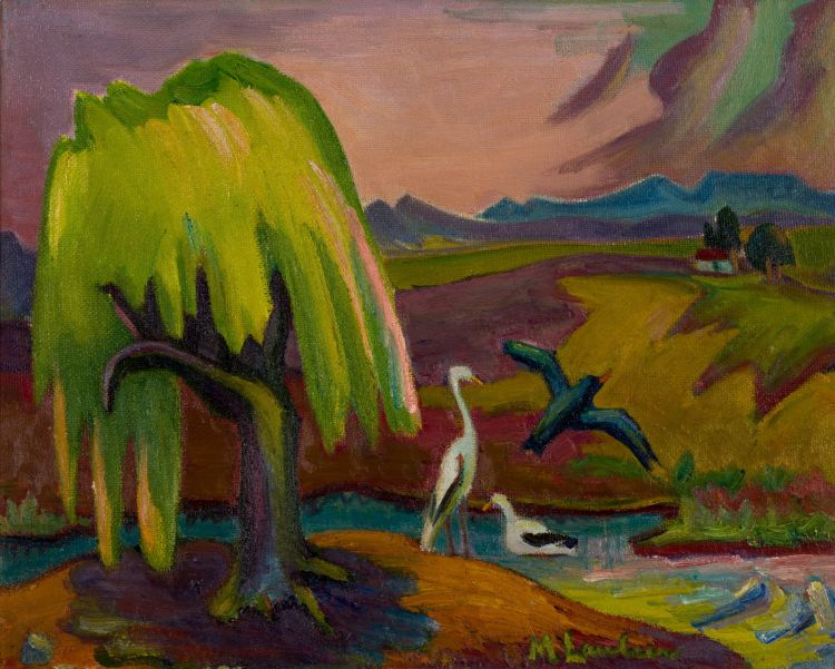 Maggie Laubser; Landscape with Tree, Birds and Distant House