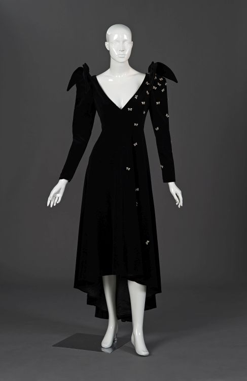 A black velvet evening gown