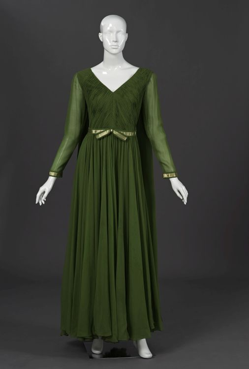 A spring green pure silk Georgette evening gown