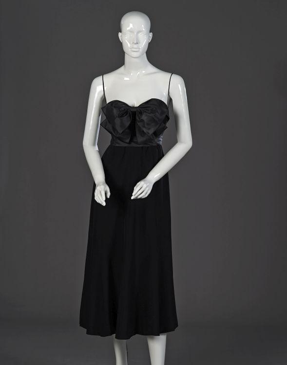 A black linen evening dress