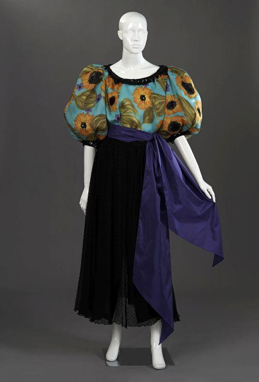 A sunflower printed pure silk gazar evening blouse