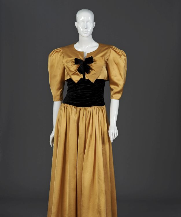 A sunflower yellow gala gown in satin duchesse