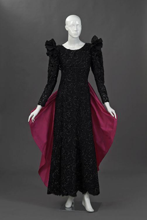 A black lace and pure silk taffeta gala gown
