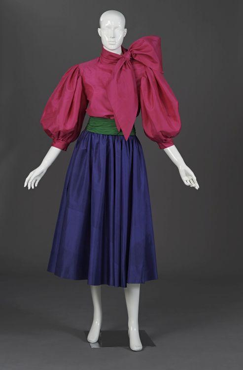 A fuchsia pink pure silk taffeta evening chemise