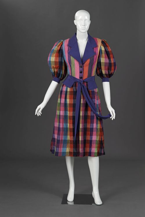 A checked and striped multicoloured party dress
