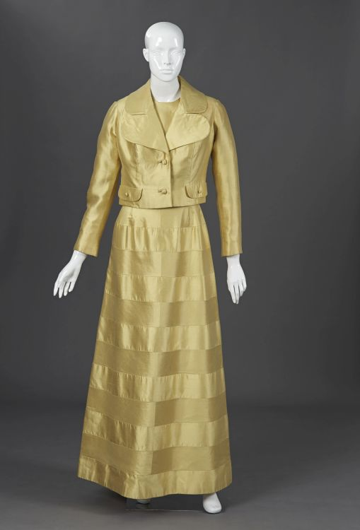 A citrus yellow pure silk zibeline gala gown and waist length jacket