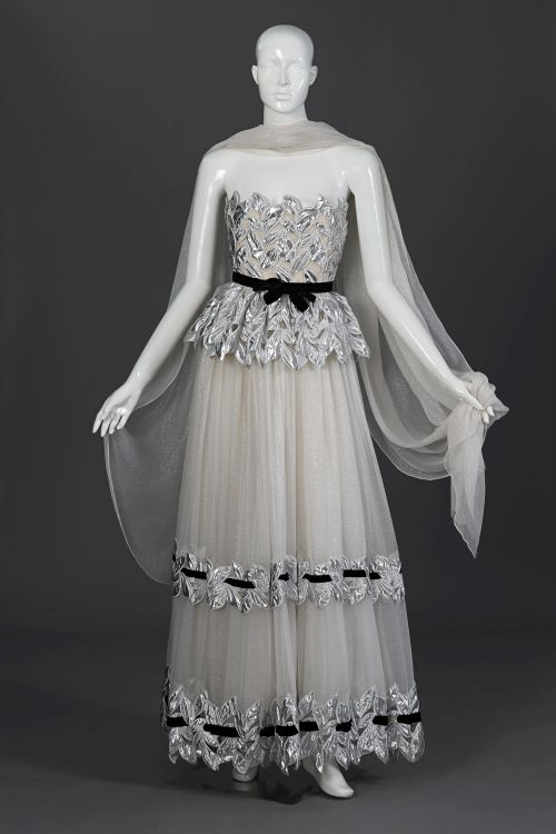 A white and silver pure silk chiffon ball gown