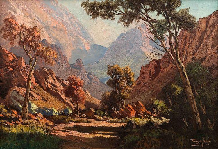 Tinus de Jongh; Mountains Through the Trees