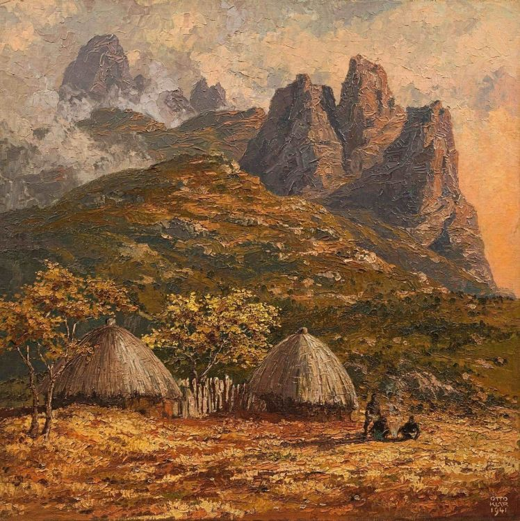 Otto Klar; Huts and Figures in The Drakensberg