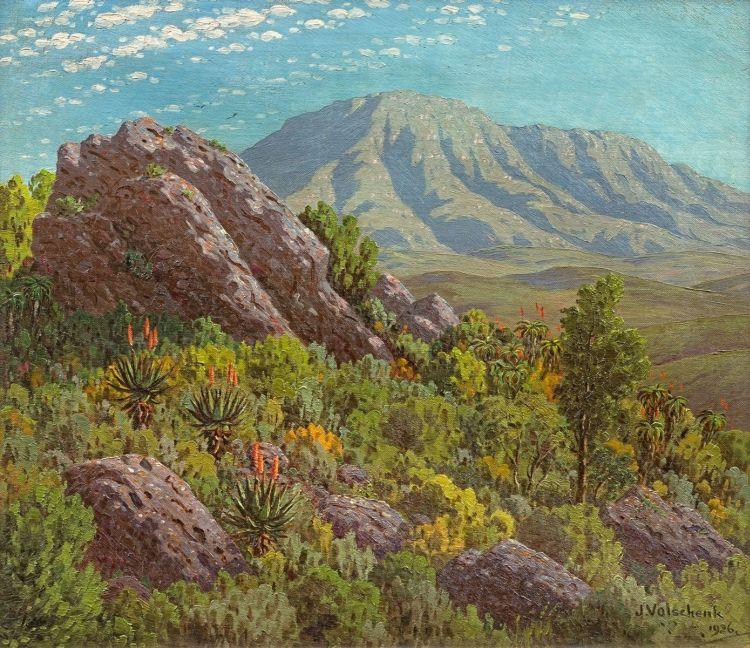 Jan Ernst Abraham Volschenk; The Langebergen from a Rocky Perch, Riversdale C.P.
