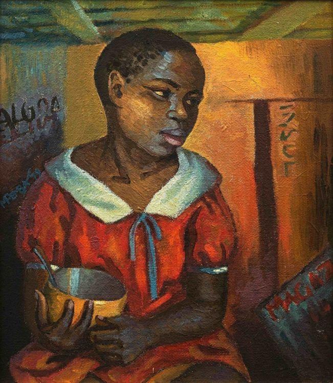 George Milwa Mnyaluza Pemba; Young Girl with Yellow Bowl