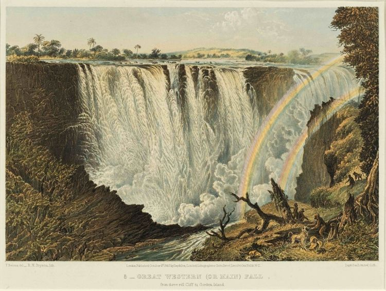 Thomas Baines; The Victoria Falls, Zambesi River, Sketched on the Spot