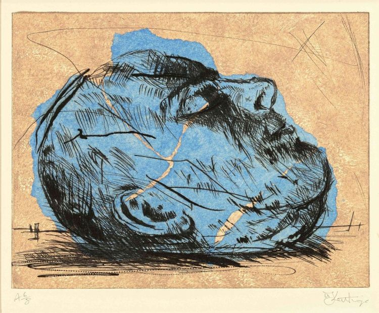 William Kentridge; Mayakovsky Head (Blue)