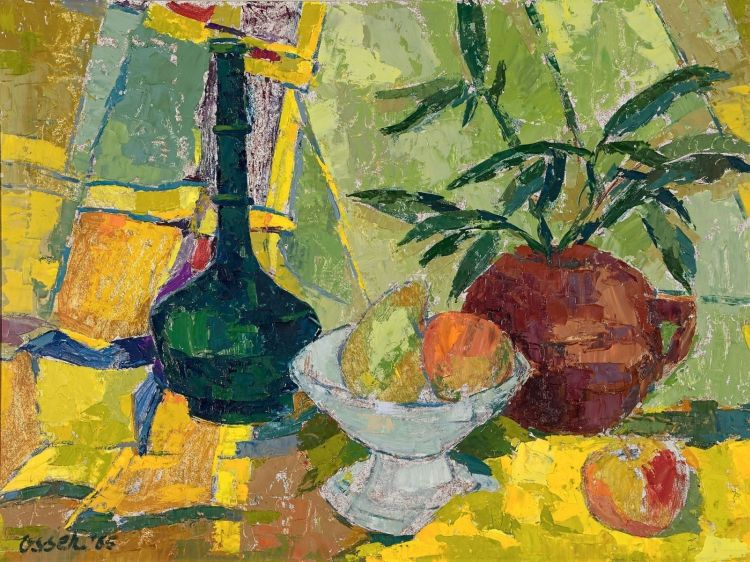 Josef Osser; Still Life with a Green Bottle, Fruit and a Plant