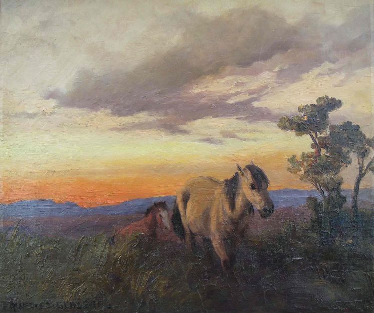 Allerley Glossop; Horses at Sunset