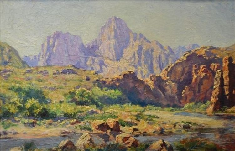 Edward Roworth; Mountainous Landscape with a River