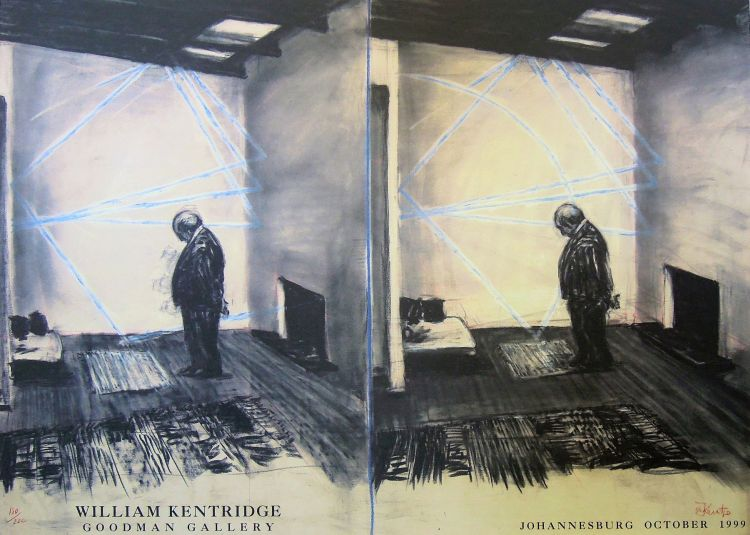 William Kentridge; William Kentridge Goodman Gallery Exhibition Poster, Johannesburg October 1999
