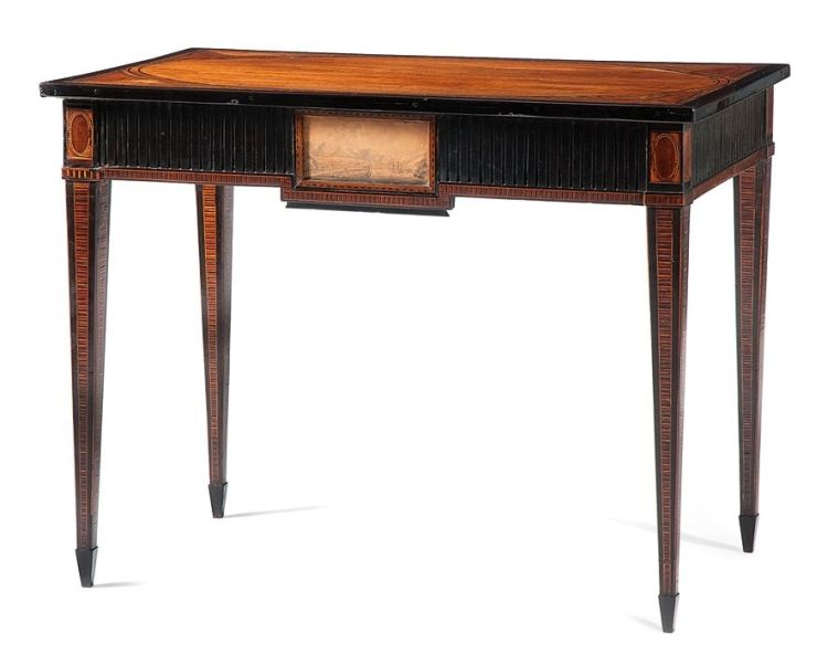 A Colonial Dutch satinwood, tulipwood, ebony and kingwood parquetry side table, 18th century