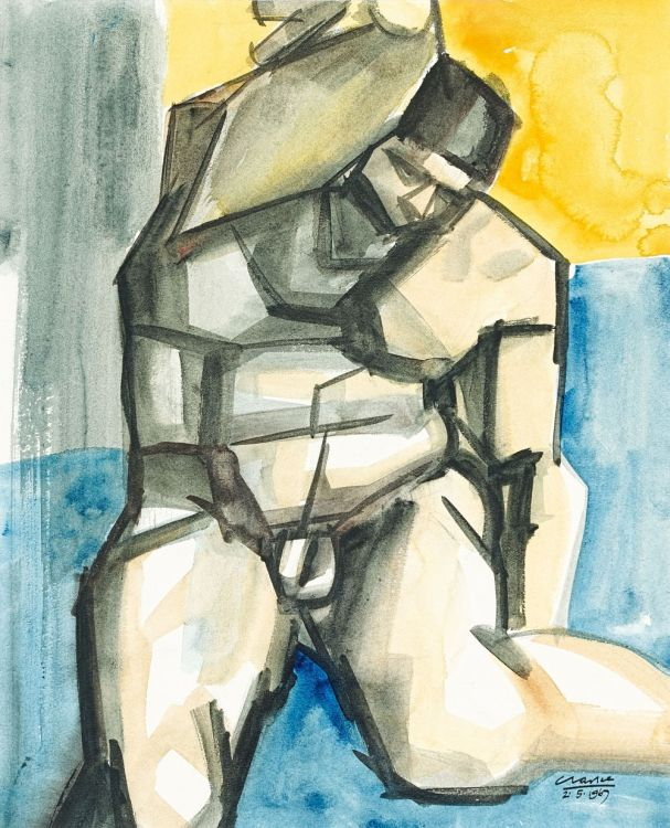 Peter Clarke; Figure After Michelangelo painting in the Sistine Chapel