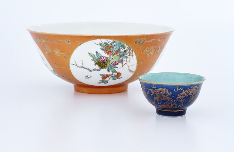 A Chinese famille-rose and orange ground bowl, mid 20th century