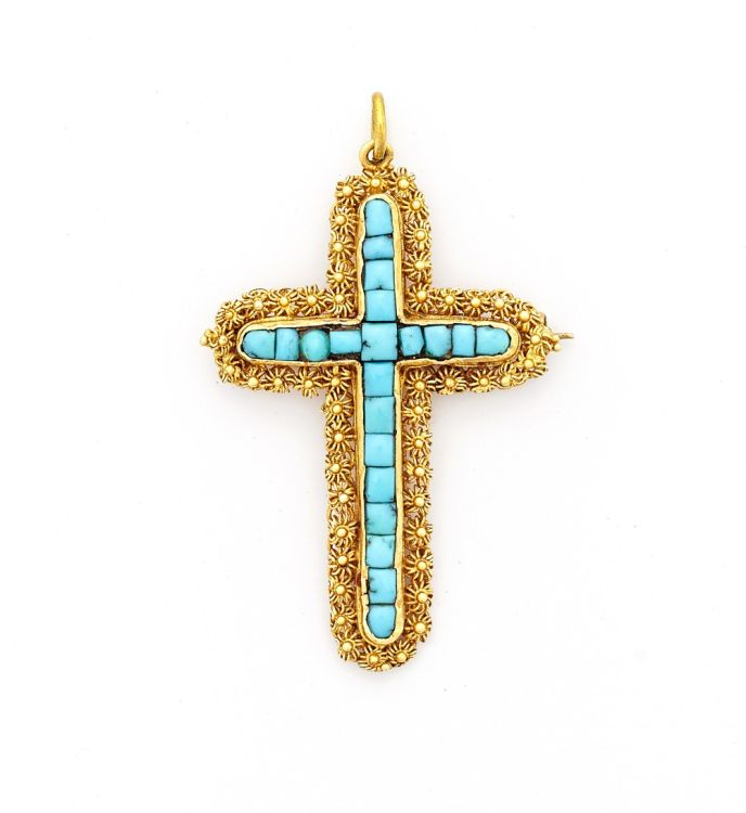 Georgian turquoise and gold cross pendant/brooch