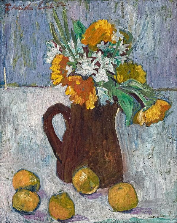 Freida Lock; Still Life with Spring Flowers and Fruit