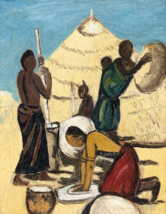 Pranas Domsaitis; Bantu Women Grinding Mealies